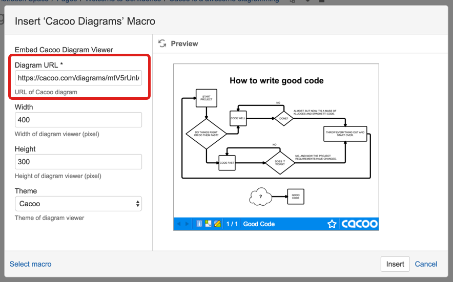 inserting Cacoo diagram into Confluence