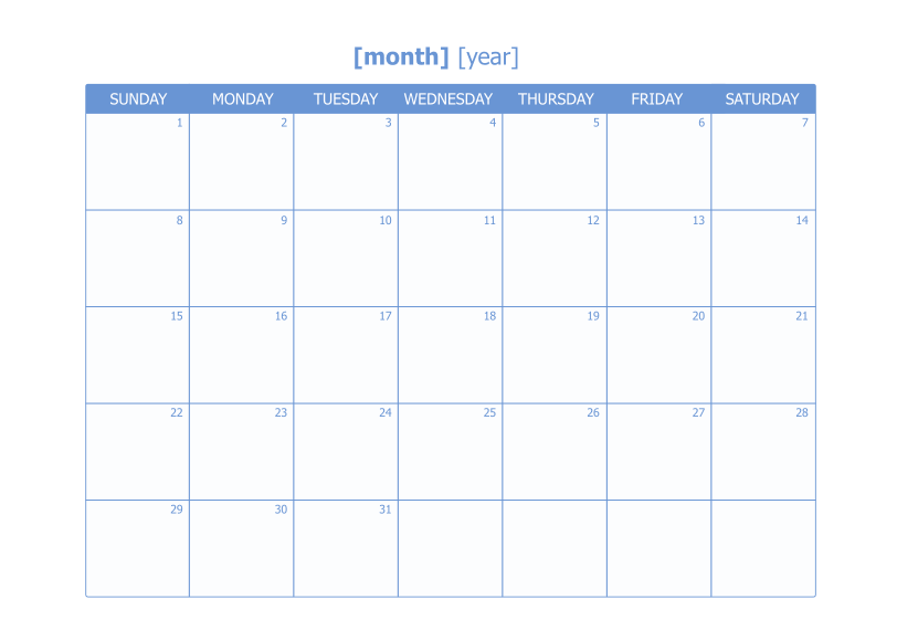 Editable Monthly Calendar Template from cacoo.com