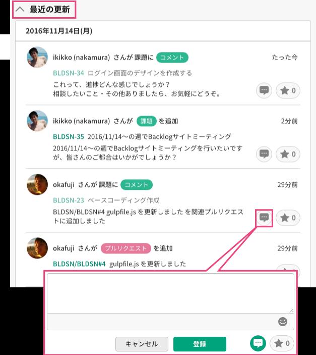 最近の更新 | プロジェクト管理ツールBacklog