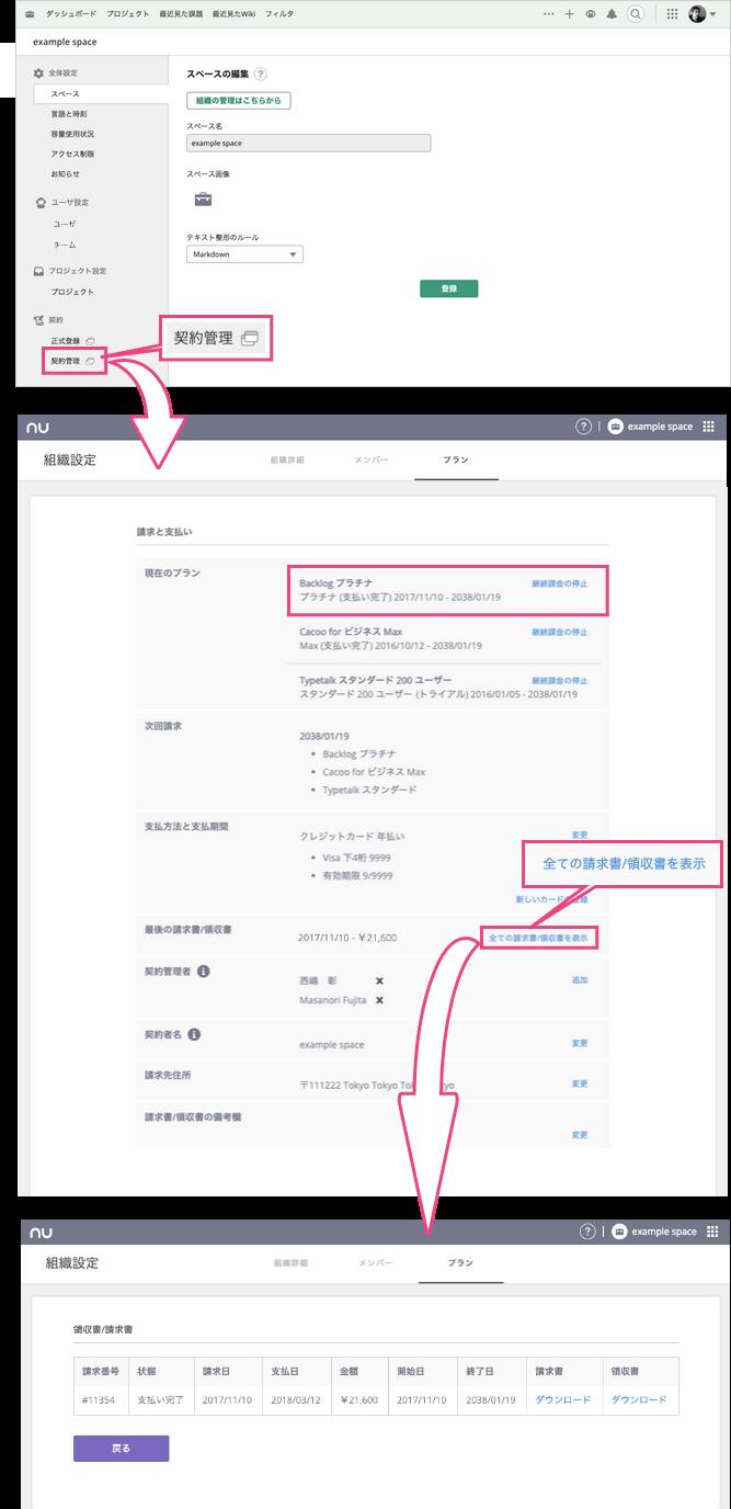 契約内容/支払履歴 | プロジェクト管理ツールBacklog