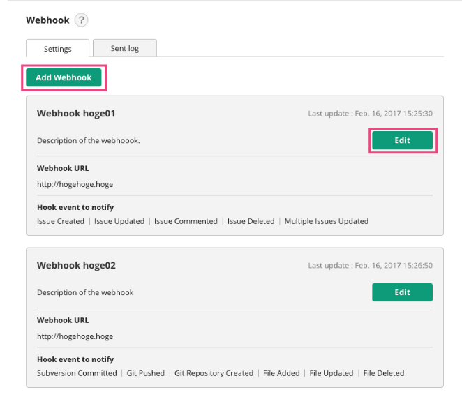 Webhooks | Backlog