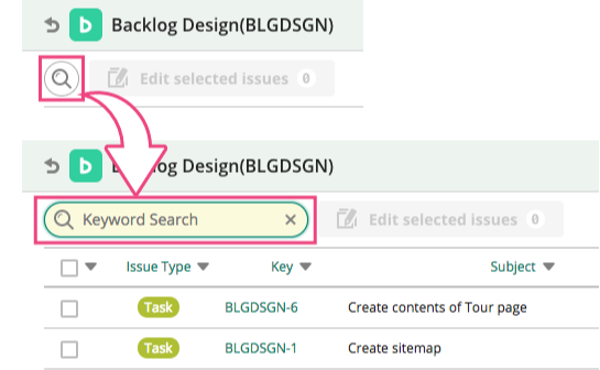 Keyword Search | Backlog