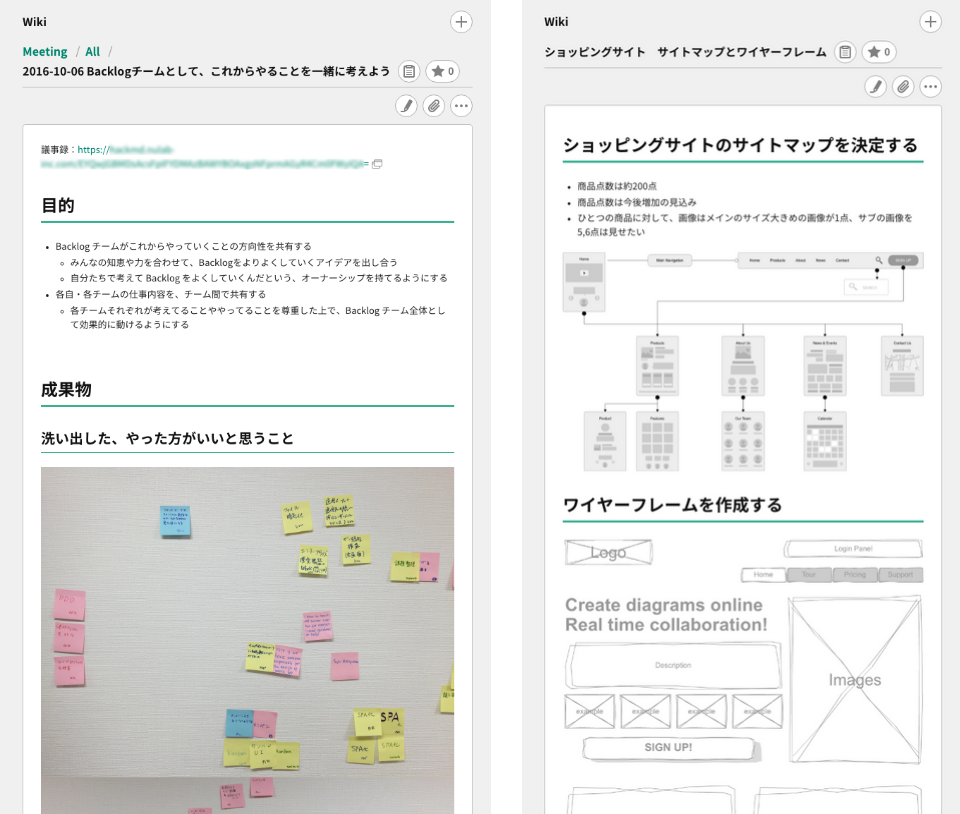 Wikiの利用例 | プロジェクト管理ツールBacklog