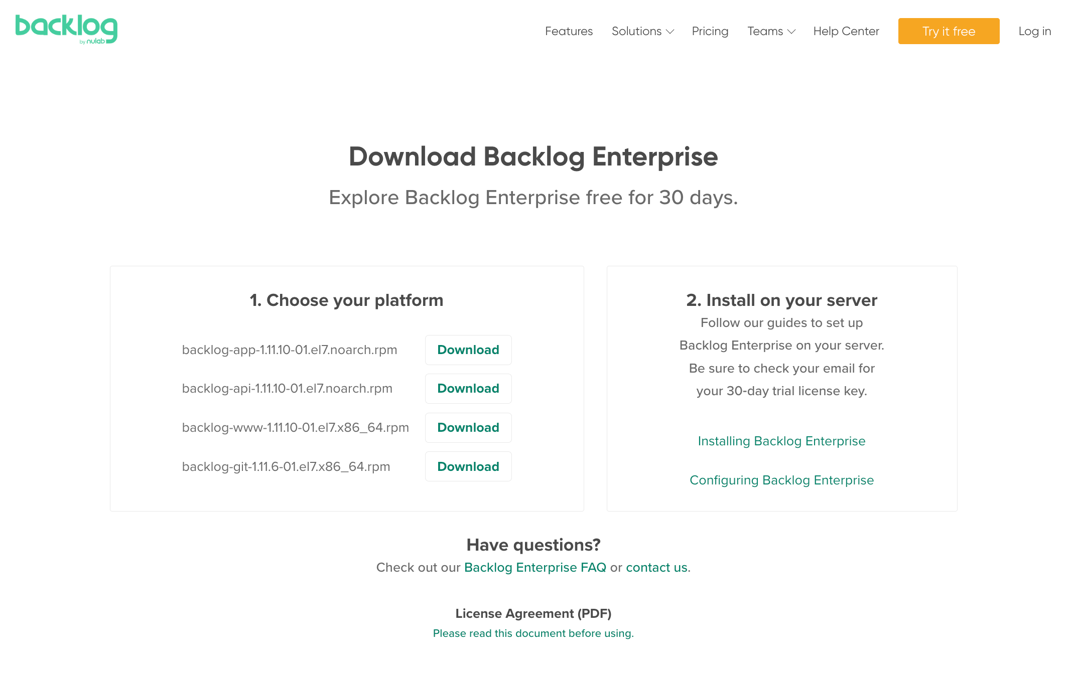 Backlog Enterprise Installation Guide