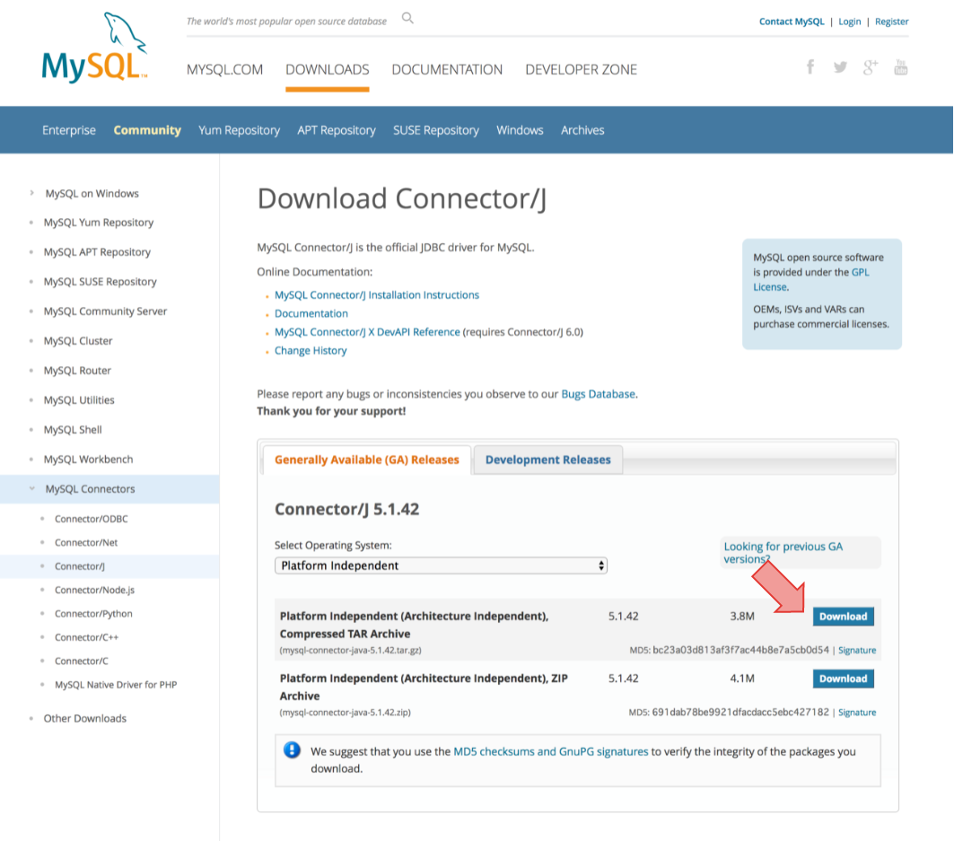 画面:MySQLドライバのダウンロードサイト