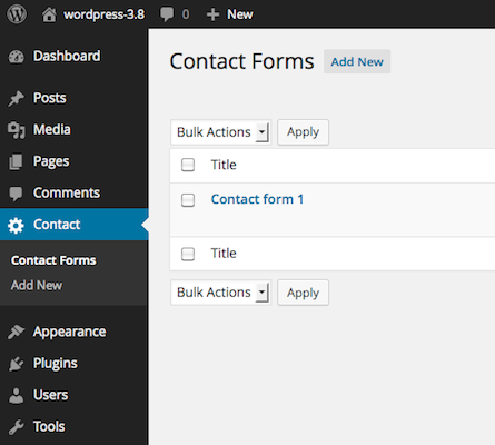 Screenshot of Contact Form 7's Admin Screen