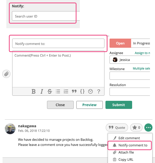 Sending notifications   Backlog