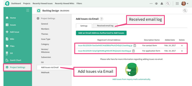 Email addresses of issue adders | Backlog