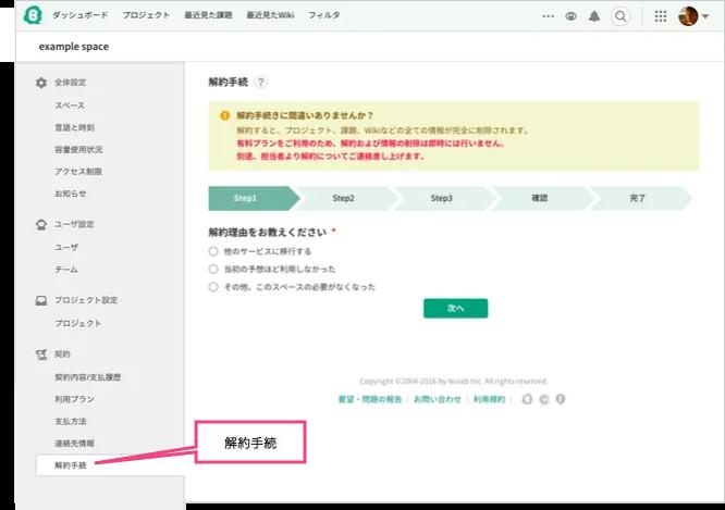 解約手続 | プロジェクト管理ツールBacklog