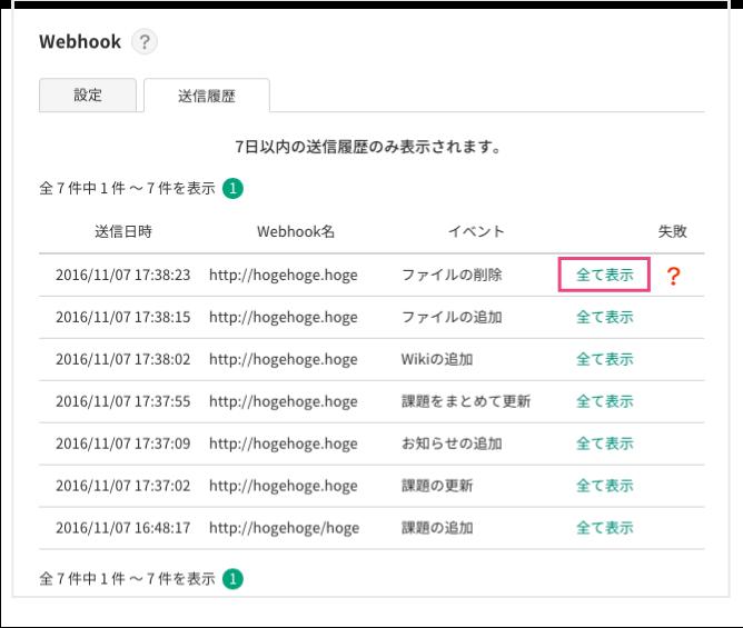 Webhookの送信履歴 | プロジェクト管理ツールBacklog
