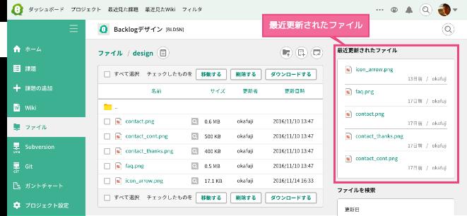 最近更新されたファイル | プロジェクト管理ツールBacklog