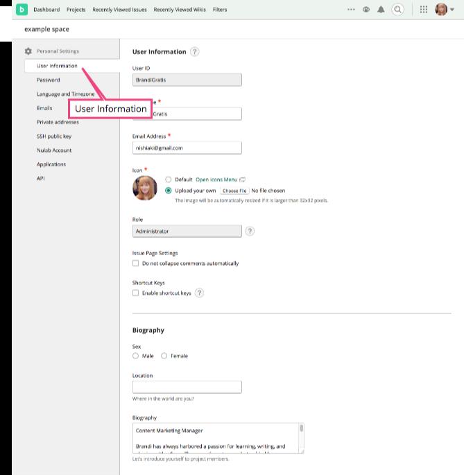 Edit User Information | Backlog