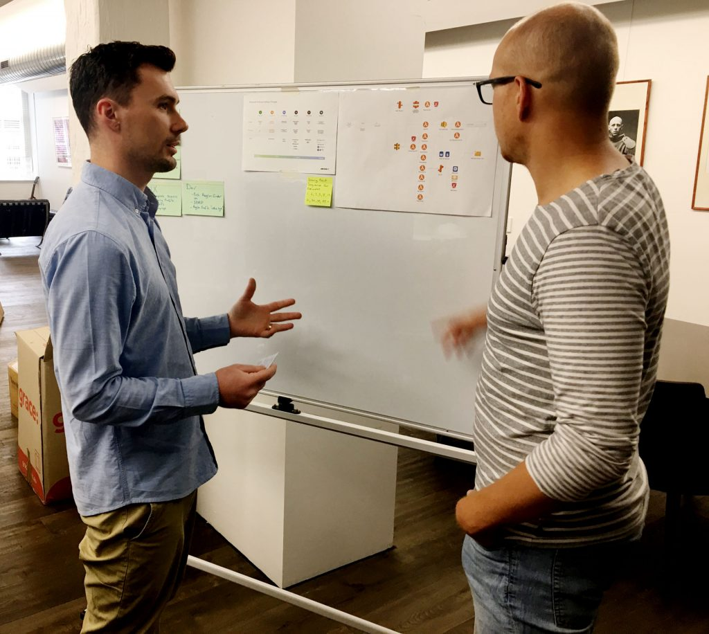 Left: Adam Synnott, Tech Lead at Winecraft, and Project Manager Teddy Moreau.
