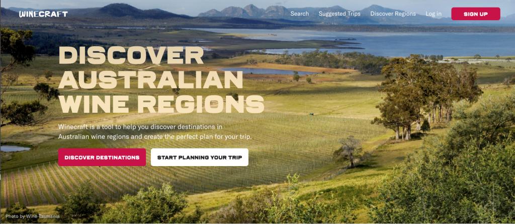Startup Winecraft website homepage