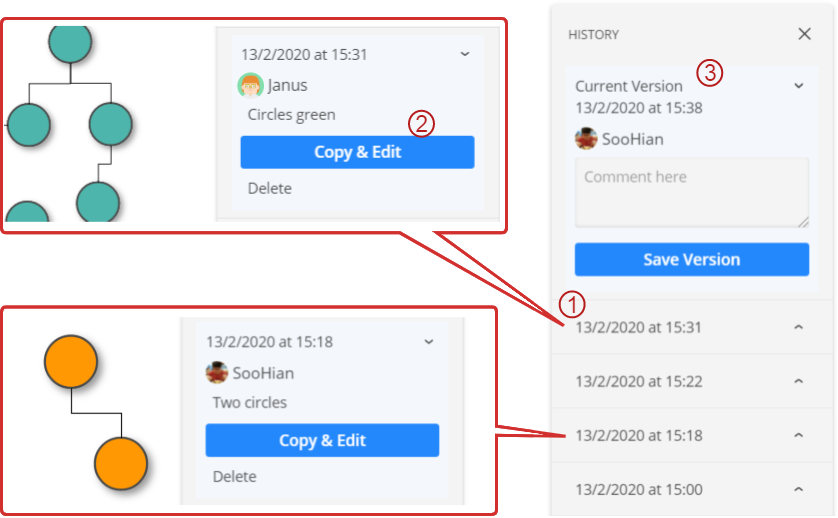 Preview and select diagram versions to retrieve them