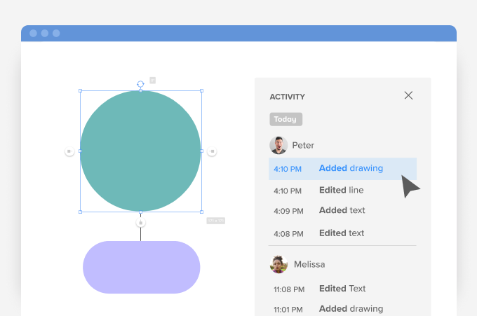 New Activity panel for viewing changes to diagrams