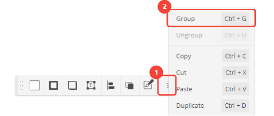 Cacoo menu for grouping shapes